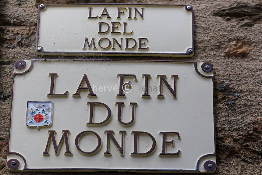 France, Cantal (15), Montsalvy, plaque de rue qui se termine en impasse d'où son nom // France, Cantal, Montsalvy, blind alley street sign