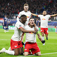 10th March 2020, Red Bull Arena, Leipzig, Germany; EUFA Champions League, RB Leipzig v Tottenham Hotspur;  Marcel Sabitzer 7, celebrates as he scores with a shot for 1-0 with Nordi Mukiele 22