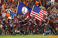 Landover, MD - September 3, 2017: Virginia Tech Hokies takes the field during game between Virginia Tech and WVA at  FedEx Field in Landover, MD.  (Photo by Elliott Brown/Media Images International)