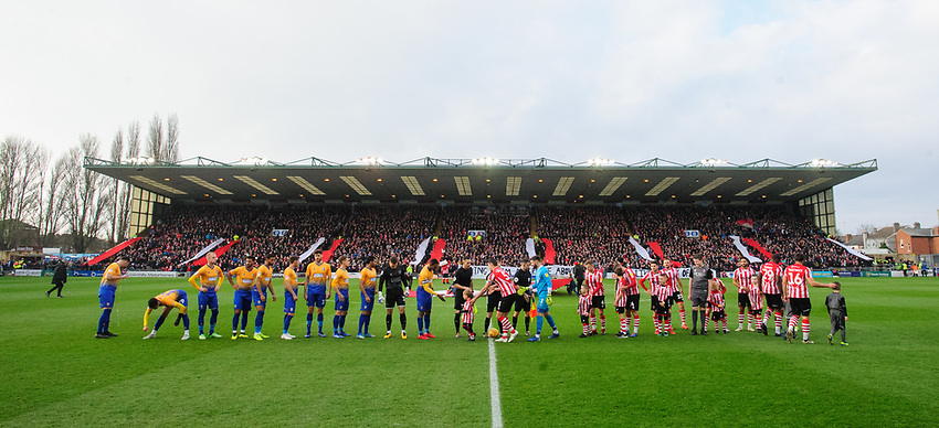 Lincoln City fans produce a display in the Lincolnshie Co-operative Stand prior to the game<br /> <br /> Photographer Chris Vaughan/CameraSport<br /> <br /> The EFL Sky Bet League Two - Lincoln City v Mansfield Town - Saturday 24th November 2018 - Sincil Bank - Lincoln<br /> <br /> World Copyright © 2018 CameraSport. All rights reserved. 43 Linden Ave. Countesthorpe. Leicester. England. LE8 5PG - Tel: +44 (0) 116 277 4147 - admin@camerasport.com - www.camerasport.com