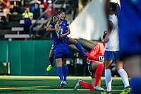 Seattle, WA - Saturday July 02, 2016: Nahomi Kawasumi celebrates scoring, Beverly Yanez during a regular season National Women's Soccer League (NWSL) match between the Seattle Reign FC and the Boston Breakers at Memorial Stadium.