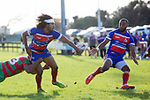 Ray Laulala gets a backhand pass away to Lolohea Loco. Counties Manukau Premier Club Rugby game between Waiuku and Ardmore Marist, played at Waiuku on Saturday June 4th 2016. Ardmore Marist won 46 - 3 after leading 39 - 3 at Halftime. Photo by Richard Spranger.