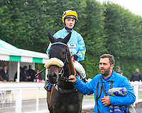 Winner of The Champagne Joseph Perrier Confined Handicap, Blistering Bob ridden by William Cox and trained by Roger Teal is led into the Winners enclosure during Horse Racing at Salisbury Racecourse on 14th August 2019