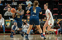 COLLEGE PARK, MD - NOVEMBER 20: Mayowa Taiwo #31 of George Washington about to make a pass during a game between George Washington University and University of Maryland at Xfinity Center on November 20, 2019 in College Park, Maryland.