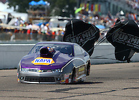 Aug 16, 2014; Brainerd, MN, USA; NHRA pro stock driver Vincent Nobile during qualifying for the Lucas Oil Nationals at Brainerd International Raceway. Mandatory Credit: Mark J. Rebilas-