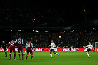 29th January 2020; London Stadium, London, England; English Premier League Football, West Ham United versus Liverpool; Andrew Robertson of Liverpool takes a free kick over the West Ham defensive wall