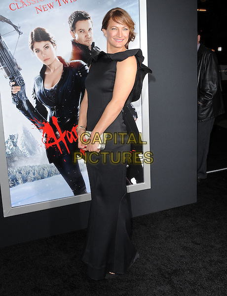 Zoe Bell.attending the Paramount Los Angeles film premiere of 'Hansel and Gretel: Witch Hunters', held at The Grauman's Chinese Theater in Hollywood, California, USA, January 24th 2013..full length black dress long maxi ruffle sleeveless clutch bag  silver                                                              .CAP/DVS.©Debbie VanStory/Capital Pictures.