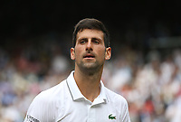 Novak Djokovic (SRB) during his match against David Goffin (BEL) in their Gentleman's Singles Quarter Final match<br /> <br /> Photographer Rob Newell/CameraSport<br /> <br /> Wimbledon Lawn Tennis Championships - Day 9 - Wednesday 10th July 2019 -  All England Lawn Tennis and Croquet Club - Wimbledon - London - England<br /> <br /> World Copyright © 2019 CameraSport. All rights reserved. 43 Linden Ave. Countesthorpe. Leicester. England. LE8 5PG - Tel: +44 (0) 116 277 4147 - admin@camerasport.com - www.camerasport.com