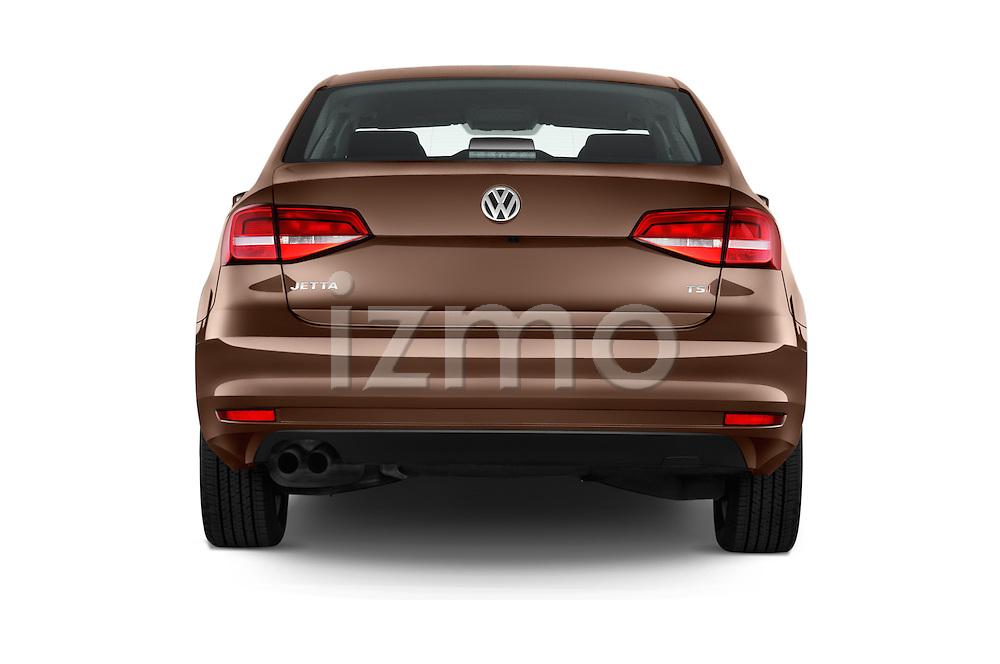 Straight rear view of 2017 Volkswagen Jetta S 4 Door Sedan Rear View  stock images