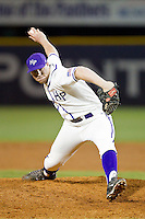 High Point Panthers relief pitcher John Maloney (30) in action against the Coastal Carolina Chanticleers at Willard Stadium on March 15, 2014 in High Point, North Carolina.  (Brian Westerholt/Four Seam Images)