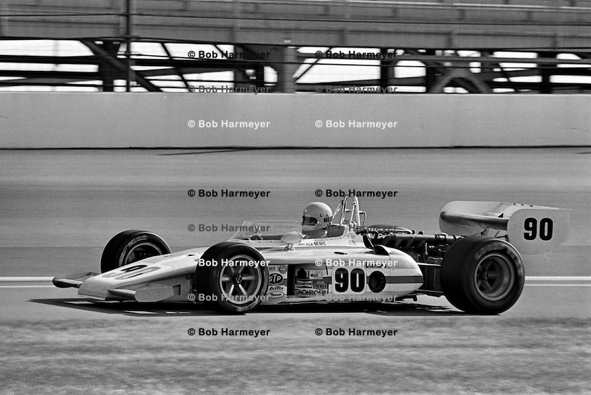 INDIANAPOLIS, IN - MAY 29: Rick Mears, in his rookie appearance at the Indianapolis Motor Speedway, drives his Eagle 7225/Offenhauser TC on a warmup lap during practice for the Indianapolis 500 on May 29, 1977, in Indianapolis, Indiana. Mears failed to qualify for the race. (Photo by Bob Harmeyer)