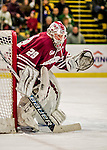 15 November 2015: University of Massachusetts Minuteman Goaltender Nic Renyard, a Freshman from Victoria, British Columbia, in second period action against the University of Vermont Catamounts at Gutterson Fieldhouse in Burlington, Vermont. The Minutemen rallied from a three goal deficit to tie the game 3-3 in their Hockey East matchup. Mandatory Credit: Ed Wolfstein Photo *** RAW (NEF) Image File Available ***