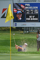 Phil Mickelson (USA) hits from the trap on 14 during 2nd round of the World Golf Championships - Bridgestone Invitational, at the Firestone Country Club, Akron, Ohio. 8/3/2018.<br /> Picture: Golffile | Ken Murray<br /> <br /> <br /> All photo usage must carry mandatory copyright credit (© Golffile | Ken Murray)