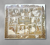Early 5th century AD Roman mosaic depiction of the farm of Seigneur Julius . From Cathage, Tunisia.  The Bardo Museum, Tunis, Tunisia.