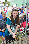 Zoe? O'Shea taking her best shot with the Golden Hammer at the Childrens Festival in Waterville on Saturday. .