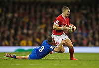 1st February 2020; Millennium Stadium, Cardiff, Glamorgan, Wales; International Rugby, Six Nations Rugby, Wales versus Italy; George North of Wales is tackled by Callum Braley of Italy