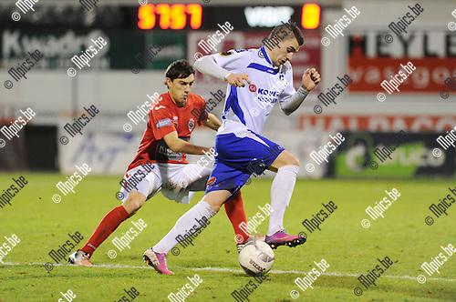2013-12-07 / Voetbal / seizoen 2013-2014 / R. Antwerp FC - KSK Heist / Jannes Vansteenkiste met Simon Vermeiren (r. Heist)<br /><br />Foto: Mpics.be