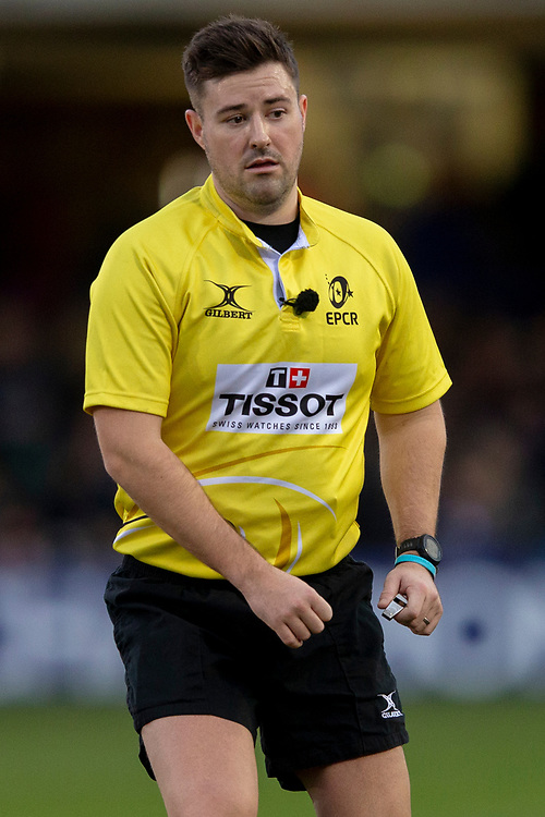 Referee Ben Whitehouse<br /> <br /> Photographer Bob Bradford/CameraSport<br /> <br /> European Rugby Heineken Champions Cup Pool 1 - Bath Rugby v Wasps - Saturday 12th January 2019 - The Recreation Ground - Bath<br /> <br /> World Copyright © 2019 CameraSport. All rights reserved. 43 Linden Ave. Countesthorpe. Leicester. England. LE8 5PG - Tel: +44 (0) 116 277 4147 - admin@camerasport.com - www.camerasport.com