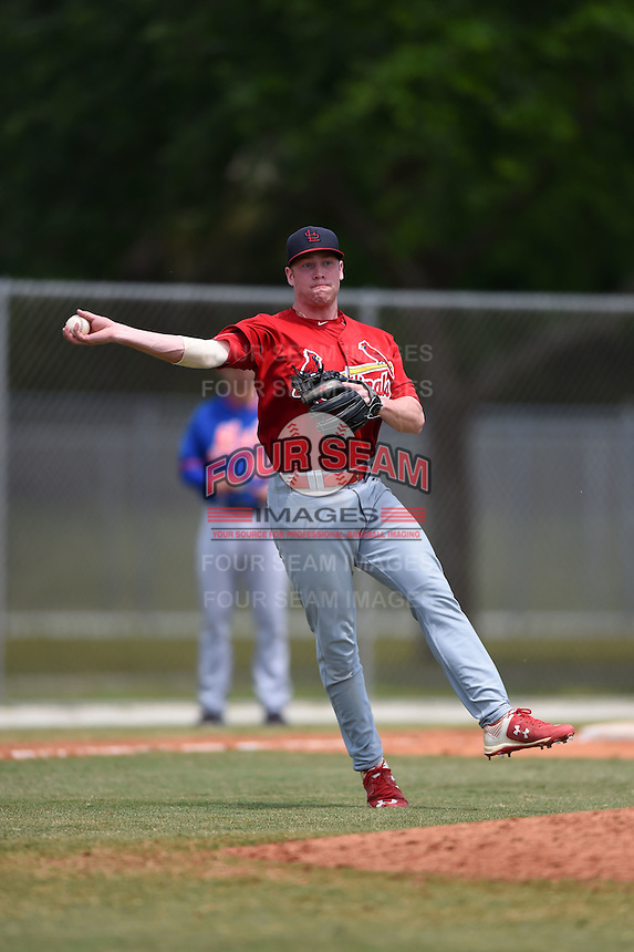 St. Louis Cardinals Andrew Sohn (22) during a minor league spring training game against the New York Mets on April 1, 2015 at the Roger Dean Complex in Jupiter, Florida.  (Mike Janes/Four Seam Images)