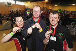 Paul Kirrane, Michael O' Leary and Patrick O' Leary from the Ennis Eagles Bowling Club pictured with their medals following competition at the Special Olympics Munster qualifiers at Leisure World in Ennis. Photograph by Declan Monaghan