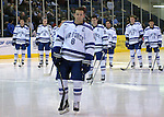 February 20, 2016 - Colorado Springs, Colorado, U.S. -   Air Force captain, Max Hartner #8, is recognized on Senior Night prior to an NCAA ice hockey game between the Robert Morris University Colonials and the Air Force Academy Falcons at Cadet Ice Arena, United States Air Force Academy, Colorado Springs, Colorado.  Air Force defeats Robert Morris 4-1