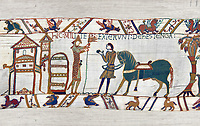 11th Century Medieval Bayeux Tapestry - Scene 47 - William prepares to meet Harold
