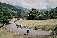 peloton up the first climb of the day: the Mont&eacute;e de Bisanne<br /> <br /> Stage 6: Frontenex &gt; La Rosi&egrave;re Espace San Bernardo (110km)<br /> 70th Crit&eacute;rium du Dauphin&eacute; 2018 (2.UWT)