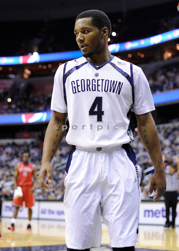Georgetown Hoyas D'Vauntes Smith-Rivera (4) during a game against the St, Johns Red Storm on January 4, 2014 at the Verizon Center in Washington, DC. Georgetown beat St. John's 77-61.