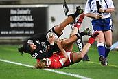 9th June 2017, Westpac Stadium, Wellington, New Zealand; International Womens Rugby; New Zealand versus Canada;  New Zealands Renee Wickliffe  (Top) is tackled by Canada's Karen Paquin