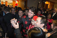 Canadian Prime Minister Justin Trudeau attend the 27th Annual Dragon Ball Gala in celebration of the Chinese New Year,<br />  February 6, 2016.<br /> <br /> PHOTO : J. Adam Huggins - Agence Quebec Presse