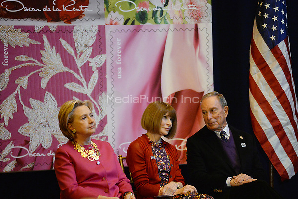 NEW YORK, NY - FEBRUARY 16: (L-R) Anderson Cooper, Anna Wintour, Hillary Clinton, Annette de la Renta and Michael Bloomberg attend the Oscar de la Renta Forever Stamp dedication ceremony at Grand Central Terminal on February 16, 2017 in New York City<br /> <br /> <br /> People:  Hillary Clinton, Anna Wintour, Michael Bloomberg<br /> <br /> Transmission Ref:  MNC78<br /> <br /> Hoo-Me.com / MediaPunch