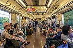 Onboard the train in Tokyo, Japan