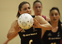 NZ's Temepara George passes during the International  Netball Series match between the NZ Silver Ferns and World 7 at TSB Bank Arena, Wellington, New Zealand on Monday, 24 August 2009. Photo: Dave Lintott / lintottphoto.co.nz