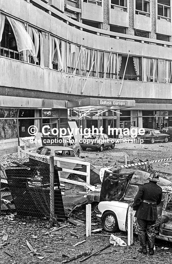 Aftermath of Provisional IRA bomb at Europa Hotel, Belfast, N Ireland, extreme damage, no injuries, 197407250411b..Copyright Image from Victor Patterson, 54 Dorchester Park, Belfast, United Kingdom, UK...For my Terms and Conditions of Use go to http://www.victorpatterson.com/Victor_Patterson/Terms_%26_Conditions.html