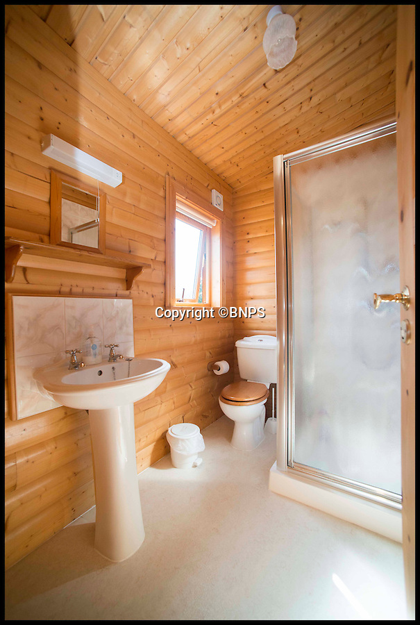 BNPS.co.uk (01202 558833)<br /> Pic: LauraDale/BNPS<br /> <br /> An en-suite bathroom to the master bedroom.<br /> <br /> A dream home...at a price - chance to buy your very own log cabin in a wood.<br /> <br /> A rare opportunity has arisen to own this idyllic log cabin nestled in the heart of ancient forest - but prospective buyers will have to dig deep because it comes with a whopping £350,000 price tag.<br /> <br /> The quaint wooden retreat is down a private track in the the New Forest, the medieval hunting grounds of William the Conqueror, offering peace and quiet for those looking to escape the stresses of modern life.<br /> <br /> The woodland bolthole might look like a holiday home but unlike its counterparts it comes with permission to live in it all year round.<br /> <br /> But its ideal location on the edge of a tiny hamlet in the west of New Forest National Park means it is worth more than twice what a similar holiday cabin at a home park would be worth.
