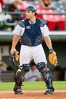 Catcher Josh Phegley #2 of the Charlotte Knights during the International League game against the Indianapolis Indians at Knights Stadium on July 26, 2011 in Fort Mill, South Carolina.  The Knights defeated the Indians 5-4.   (Brian Westerholt / Four Seam Images)