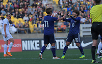 Japan's Mina Tanaka and Rin Sumida celebrate the first goal during the international women's football match between the New Zealand Football Ferns and Japan at Westpac Stadium in Wellington, New Zealand on Sunday, 10 May 2018. Photo: Dave Lintott / lintottphoto.co.nz