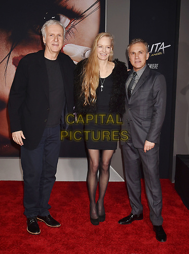 WESTWOOD, CA - FEBRUARY 05: (L-R) James Cameron, Suzy Amis Cameron and Christoph Waltz attend the Premiere Of 20th Century Fox's 'Alita: Battle Angel' at Westwood Regency Theater on February 05, 2019 in Los Angeles, California.<br /> CAP/ROT/TM<br /> ©TM/ROT/Capital Pictures