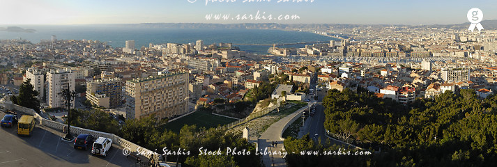 France, Marseille. View of Marseille from Notre-Dame de La Garde Basilica PANORAMIC (TRAVEL FRANCEsb10069713u-001 )