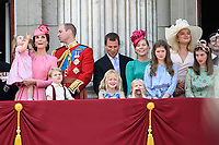 Catherine, Duchess of Cambridge; Princess Charlotte; Prince George &amp; Prince William, Duke of Cambridge; Savanah &amp; Isla Phillips &amp; Peter Phillips on the balcony of Buckingham Palace following the Trooping of the Colour Ceremony celebrating the Queen's official birthday. London, UK. <br /> 17 June  2017<br /> Picture: Steve Vas/Featureflash/SilverHub 0208 004 5359 sales@silverhubmedia.com