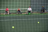 Hillary Jones (cq), Brandi Martin (cq), Shari Ahlberg (cq), and Kate Stuteville (cq) workout with tennis coach Bill Hammett (cq), at Cooper Fitness Center Tennis Courts in Dallas, Texas, USA, Saturday, December 13, 2008. These woman have refused to let a disability keep them from being athletes and achieving their fitness goals. ..MATT NAGER/ SPECIAL CONTRIBUTOR