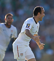 PASADENA, CA – June 25, 2011: USA player Landon Donovan (10) celebrating his goal during the Gold Cup Final match between USA and Mexico at the Rose Bowl in Pasadena, California. Final score USA 2 and Mexico 4.