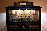 Vintage wooden table football<br /> Antique toys exposed at Palazzo Braschi during the Exhibition 'For fun. Collection of antique toys of Capitoline Superintendency'.<br /> Rome (Italy), July 24th 2020