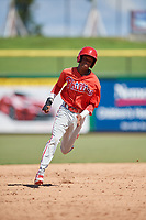 Philadelphia Phillies center fielder Julio Francisco (17) runs the bases during a Florida Instructional League game against the Toronto Blue Jays on September 24, 2018 at Spectrum Field in Clearwater, Florida.  (Mike Janes/Four Seam Images)