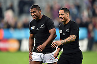 Waisake Naholo and Aaron Smith of New Zealand are all smiles after the match. Rugby World Cup Pool C match between New Zealand and Tonga on October 9, 2015 at St James' Park in Newcastle, England. Photo by: Patrick Khachfe / Onside Images