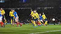 Sokratis Papastathopoulos of Arsenal left watches the ball go into the net for the first goal during Portsmouth vs Arsenal, Emirates FA Cup Football at Fratton Park on 2nd March 2020
