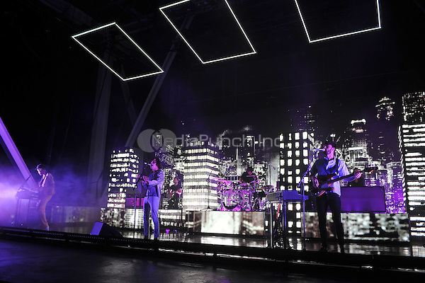 MIAMI FL - MAY 11: Adam Hann, Matthew Healy and Ross MacDonald of The 1975 perform at Bayfront Park Amphitheater on May 11, 2016 in Miami, Florida. Credit: mpi04/MediaPunch