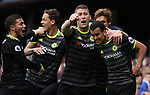 Pedro of Chelsea celebrates scoring the opening goal with Eden Hazard, Marcos Alonso, Nemanja Matic and Gary Cahill of Chelsea during the English Premier League match at Goodison Park , Liverpool. Picture date: April 30th, 2017. Photo credit should read: Lynne Cameron/Sportimage