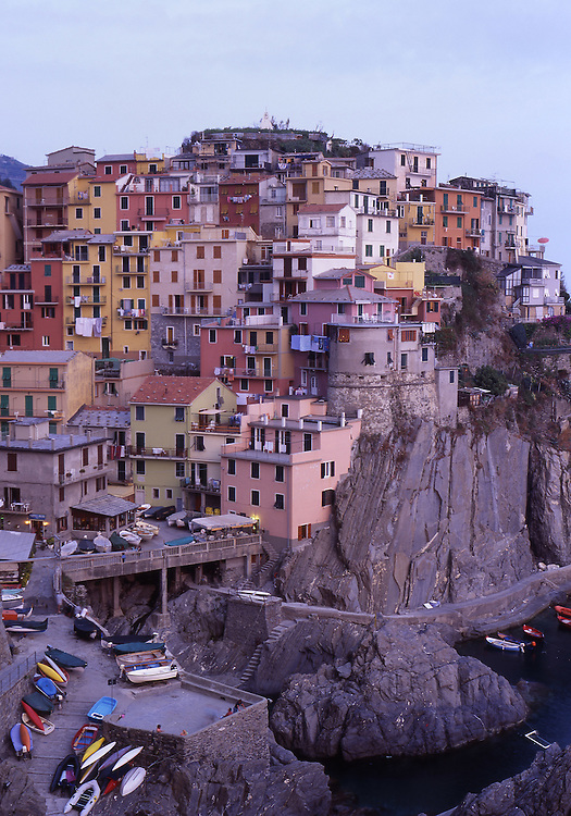 Europe, ITA, Italy, Liguria, Riviera di Levante Cinqueterre, Manarola, Typical view on to the Village, Harbour, Port....[ For each utilisation of my images my General Terms and Conditions are mandatory. Usage only against use message and proof. Download of my General Terms and Conditions under http://www.image-box.com or ask for sending. A clearance before usage is necessary...Material is subject to royalties. Each utilisation of my images is subject to a fee in accordance to the present valid MFM-List...Contact | archive@image-box.com | www.image-box.com ]