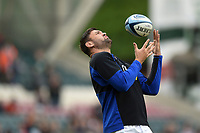 Elliott Stooke of Bath Rugby catches a ball during the pre-match warm-up. Gallagher Premiership match, between Leicester Tigers and Bath Rugby on May 18, 2019 at Welford Road in Leicester, England. Photo by: Patrick Khachfe / Onside Images